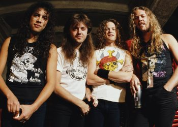 Portrait of American heavy metal band Metallica, early 1990s. Pictured are, from left, Kirk Hammett, Lars Ulrich, Jason Newsted, and James Hetfield. (Photo by Tony Mottram/Getty Images)