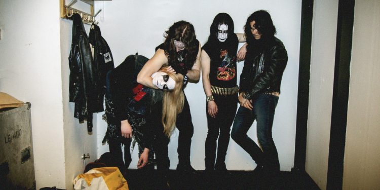 Jack Kilmer, Anthony De La Torre, Rory Culkin, and Jonathan Barnwell in Lords of Chaos