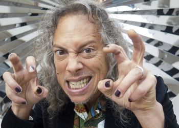 It's obvious how much Metallica guitarist Kirk Hammett loves horror movies. (Andrea Shea/WBUR)
