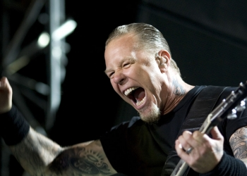Lead singer and guitarist James Hetfield of the American heavy metal band Metallica performs during the World Magnetic Tour with the band before a crowd at the Ramat Gan Stadium just outside Tel Aviv, Israel, Saturday, May 22, 2010. (AP Photo/Ariel Schalit)