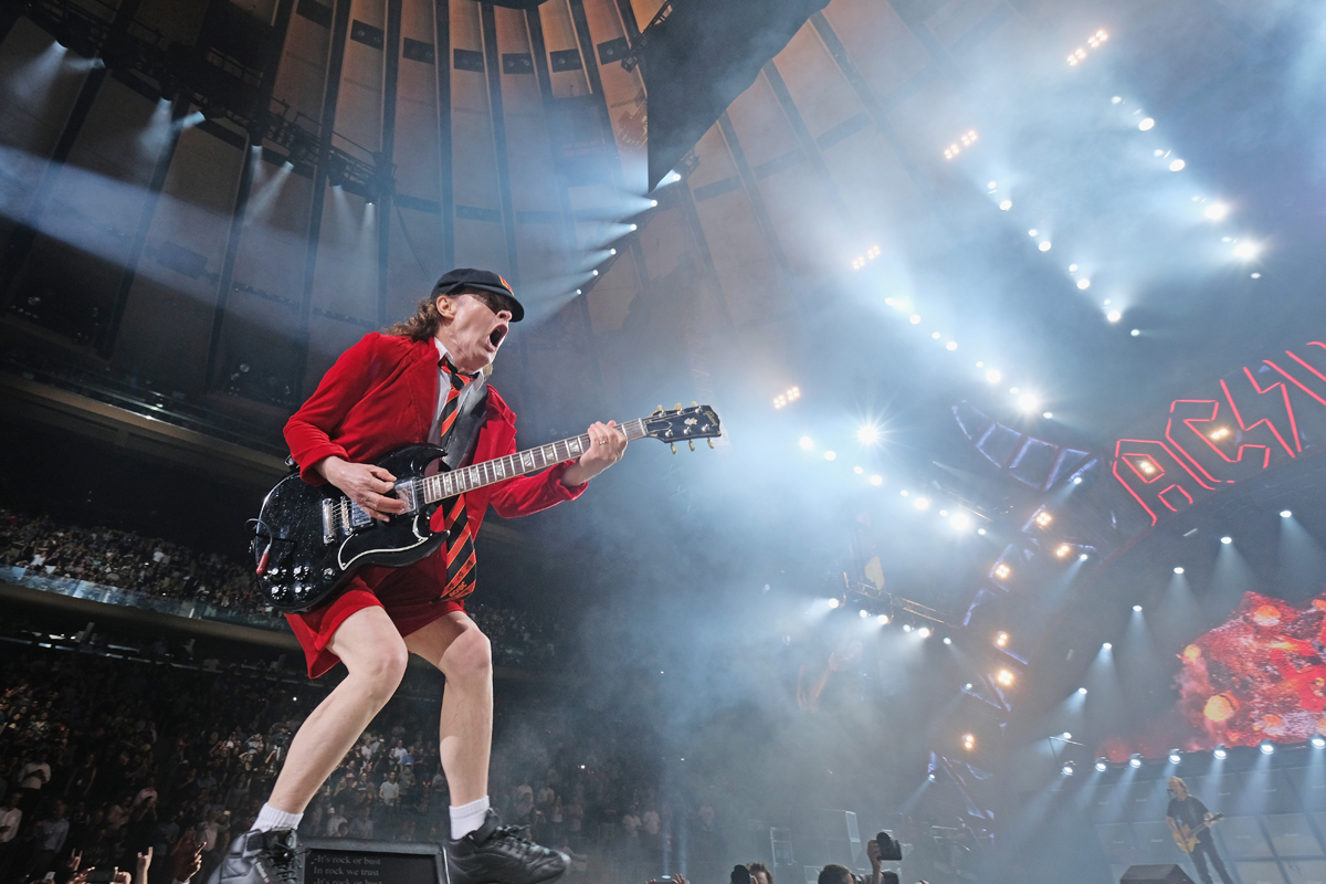 NEW YORK, NY - SEPTEMBER 14:  Guitar player Angus Young of AC/DC performs during the AC/DC Rock Or Bust Tour at Madison Square Garden on September 14, 2016 in New York City.  (Photo by Mike Coppola/Getty Images)