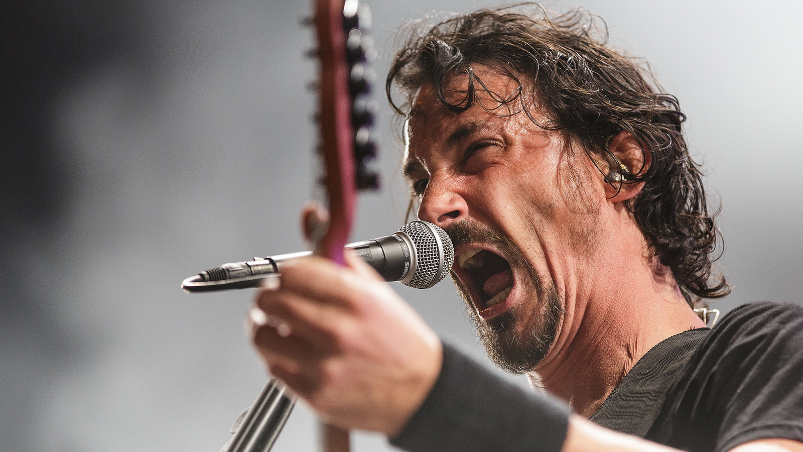 The French death metal band Gojira performs a live concert at the Danish music festival Roskilde Festival 2016. Here guitarist and vocalist Joe Duplantier is seen live on stage. Denmark, 02/07 2016. (Photo by: PYMCA/Avalon/Universal Images Group via Getty Images)